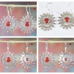 925 Silver Earrings Carnelian Round Hoop Earrings